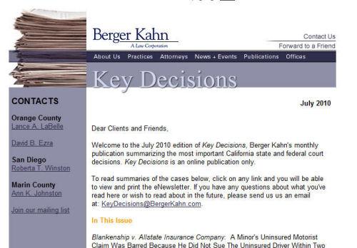 Berger Kahn email newsletter